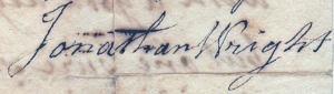 The signature of Jonathan Wright from an 1820 letter.
